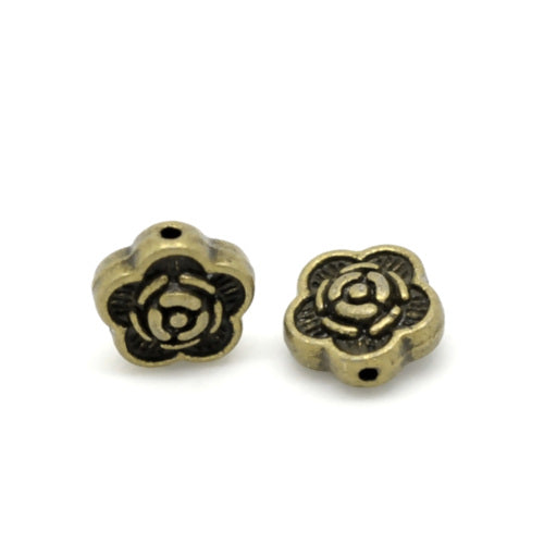 Metal Spacer Beads, Flower, Rondelle, Double-Sided, Bronze Tone, Alloy, 7mm. Sold Individually - BEADED CREATIONS