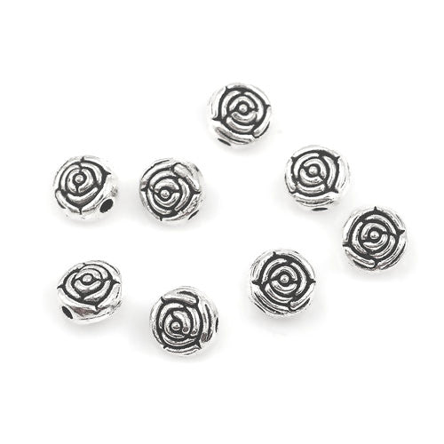 Metal Spacer Beads, Flower, Round, Antique Silver, Alloy, 7mm. Sold Individually - BEADED CREATIONS
