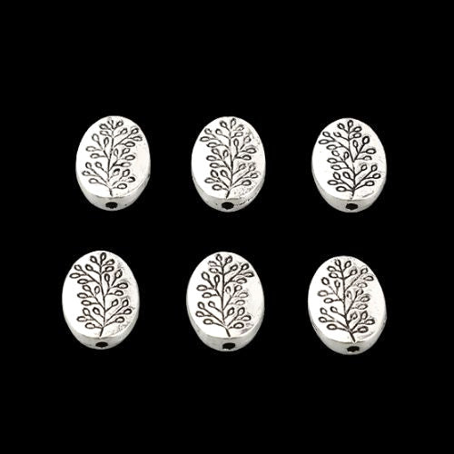 Metal Spacer Beads, Oval, Leaf Design, Antique Silver, Alloy, 10mm - BEADED CREATIONS