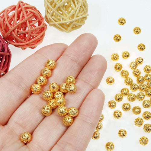 Metal Spacer Beads, Round, Ornate, Filigree, Gold Plated, Alloy, 6mm. Sold Per Pkg Of 10 - BEADED CREATIONS