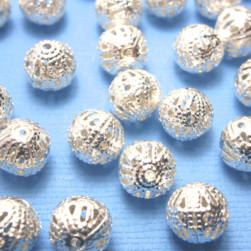 Metal Spacer Beads, Round, Ornate, Filigree, Silver Plated, Alloy, 8mm. Sold Per Pkg Of 10 - BEADED CREATIONS