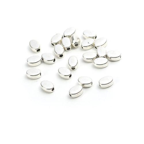 Metal Spacer Beads, Silver Tone, Alloy, 6x4mm, Smooth, Oval. Sold Individually - BEADED CREATIONS