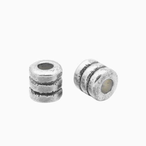 Metal Spacer Beads, Silver Tone, Column, Grooved, 4mm, Sold Individually