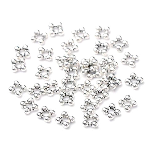 Metal Spacer Beads, Square, Silver Tone, Alloy, 5mm, Sold Per Pkg Of 10 - BEADED CREATIONS