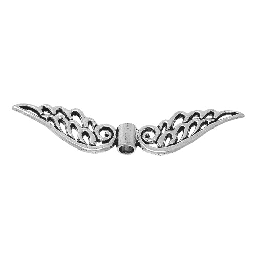 Metal Spacer Beads, Wings, Angel, Double-Sided, Cut-Out, Antique Silver, Alloy, 52mm. Sold Individually - BEADED CREATIONS
