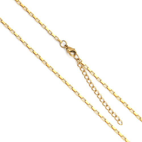 Necklace, Box Chain, 304 Stainless Steel, Gold Plated, 60.5cm - BEADED CREATIONS