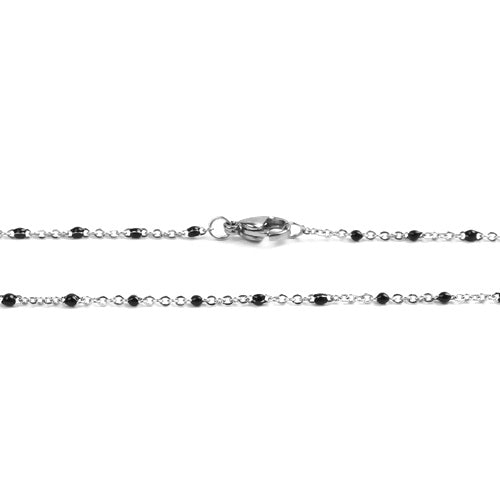 Necklace, Chain, 304 Stainless Steel, Cable Link, Silver Tone, Black Enamel, 60cm - BEADED CREATIONS