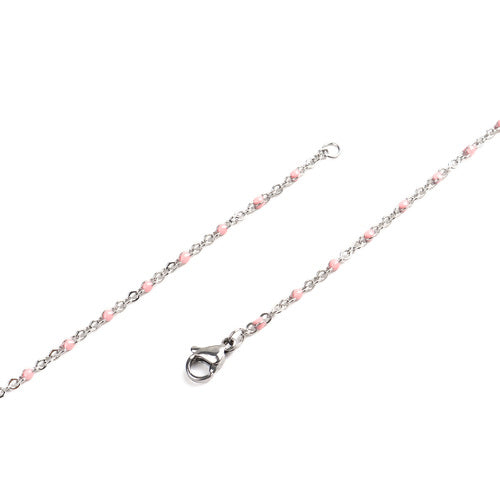 Necklace, Chain, 304 Stainless Steel, Cable Link, Silver Tone, Pink Enamel, 45cm - BEADED CREATIONS