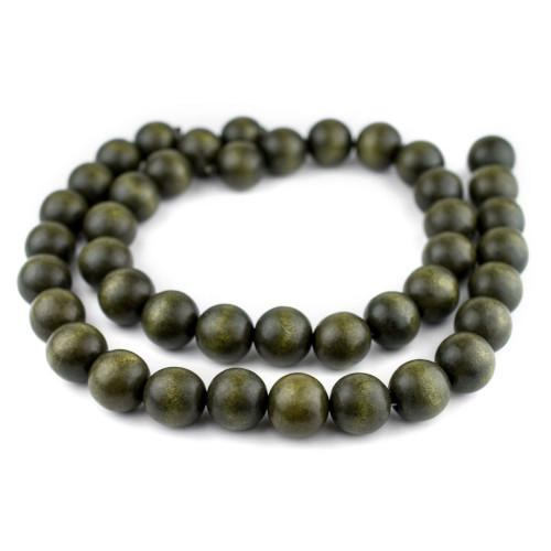 Beads, Wood, Round, Olive Green, 30mm. Sold Individually - BEADED CREATIONS
