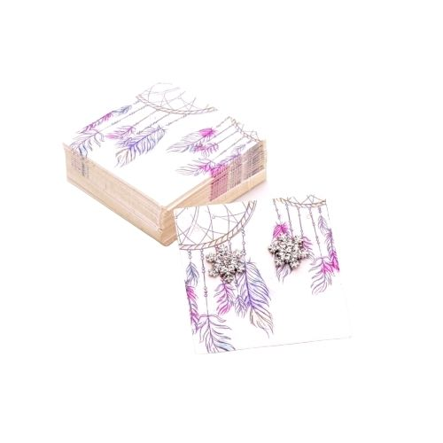 Paper Earrings And Necklace Display Cards, Square, Mauve, Dreamcatcher Design, 5.9x5.9cm - BEADED CREATIONS