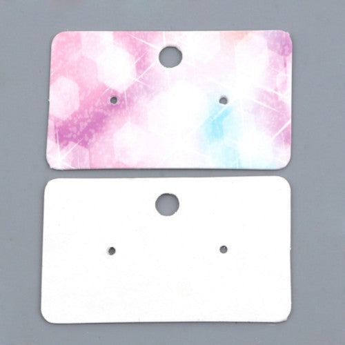 Paper Earrings Display Cards, Rectangle, Multicolored, Starry Design, 5x3cm - BEADED CREATIONS
