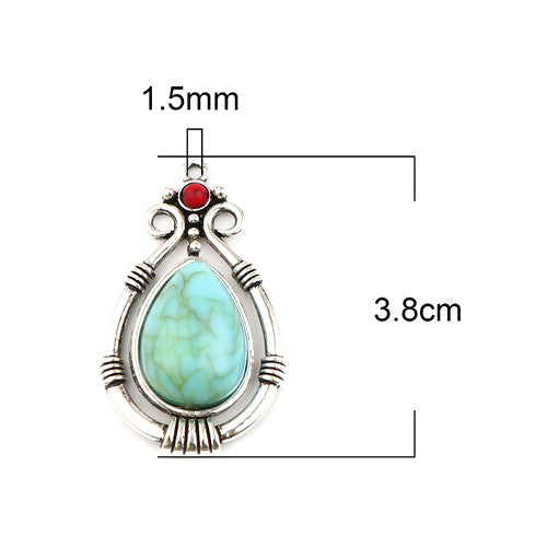 Pendant, Drop, Boho Chic, Single-Sided, Antique Silver, Alloy, Blue, Red, Imitation Turquoise, Focal, 38mm - BEADED CREATIONS