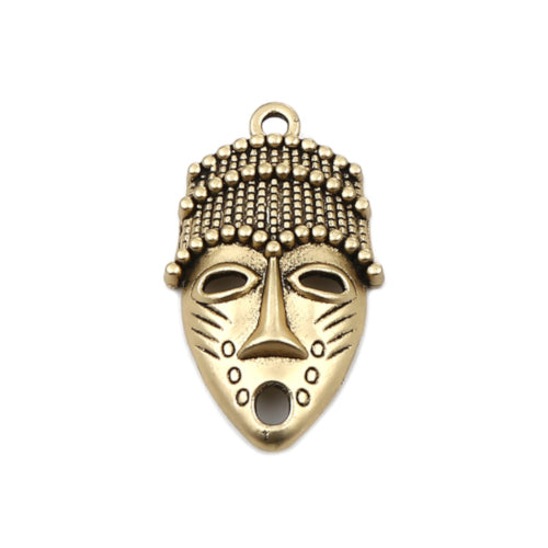 Pendants, African Mask, Antique Gold Tone, Single Sided, 33mm. Sold Individually - BEADED CREATIONS