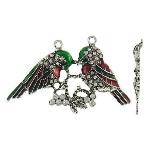 Pendants, Birds, Antique Silver, Alloy, Red, Green, Enamel, Clear, Rhinestones, 67mm - BEADED CREATIONS