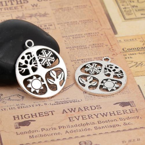 Pendants, Four Seasons, Round, Double-Sided, Antique Silver, Alloy, 28mm. Sold Individually