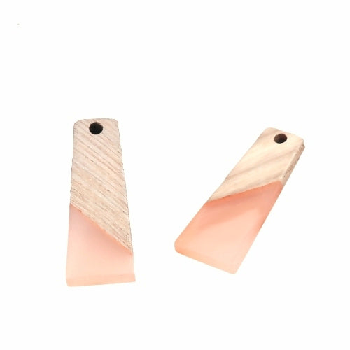 Pendants, Light Pink, Wood And Resin, 3cm, Trapezoid, Focal. Sold Individually - BEADED CREATIONS