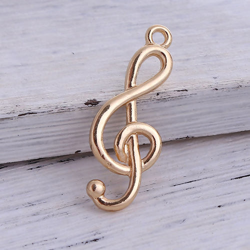 Pendants, Music Note, Gold Plated, Alloy, 32mm. Sold Individually - BEADED CREATIONS