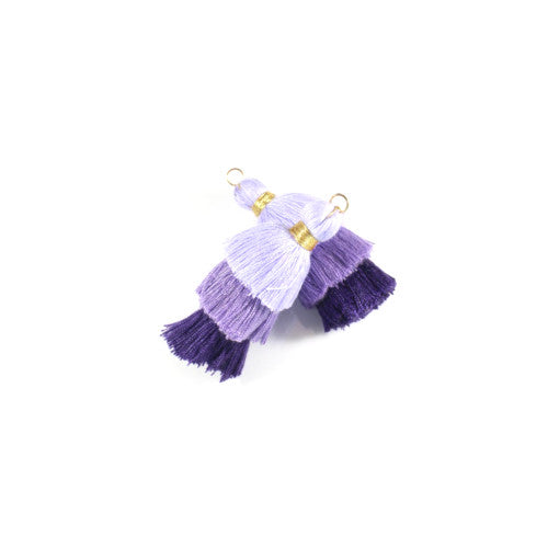 Pendants, Tassels, Multi Layer, With Jump Ring, Purple, Mauve, Cotton, 33mm. Sold Individually - BEADED CREATIONS