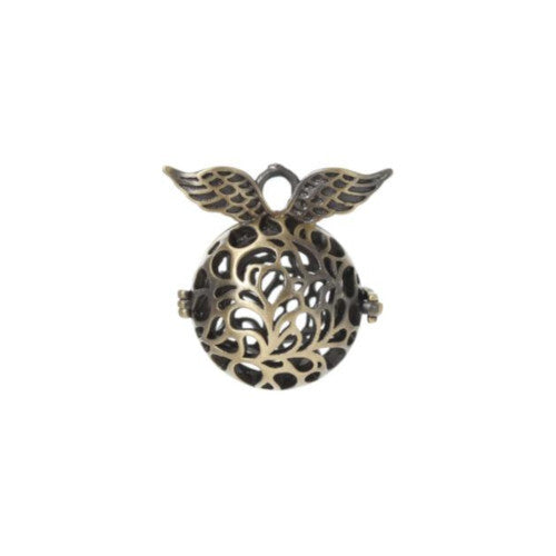 Pendants, Wings, Filigree, Wish Box, Mexican, Angel Caller, Harmony Ball, Bola, Bronze, 2.7cm. Sold Individually - BEADED CREATIONS