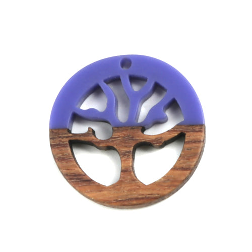Pendants, Wood, Tree Of Life, Round, Purple, Resin, 28mm. Sold Individually - BEADED CREATIONS