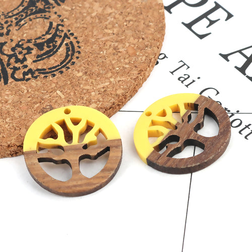 Pendants, Wood, Tree Of Life, Round, Yellow, Resin, 28mm. Sold Individually - BEADED CREATIONS