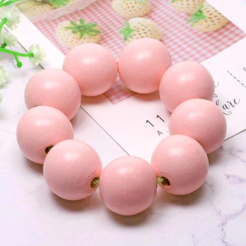 Beads, Wood, Pink, Round, 35mm, Sold Individually - BEADED CREATIONS