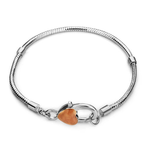 Bracelet, Snake Chain, Pugster®, Alloy, Silver Plated, 3mm, Threaded, Lock Clasp, Orange, Enamel, Heart, Snap Clasp, 21.3cm, Sold Individually - BEADED CREATIONS
