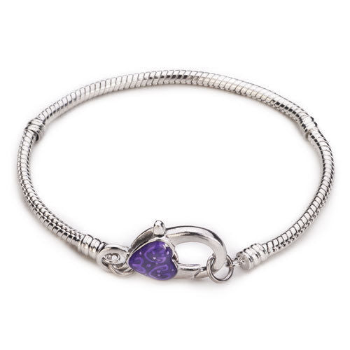 Bracelet, Snake Chain, Pugster®, Alloy, Silver Plated, 3mm, Threaded, Lock Clasp, Purple, Enamel, Heart, Snap Clasp, 21cm, Sold Individually - BEADED CREATIONS