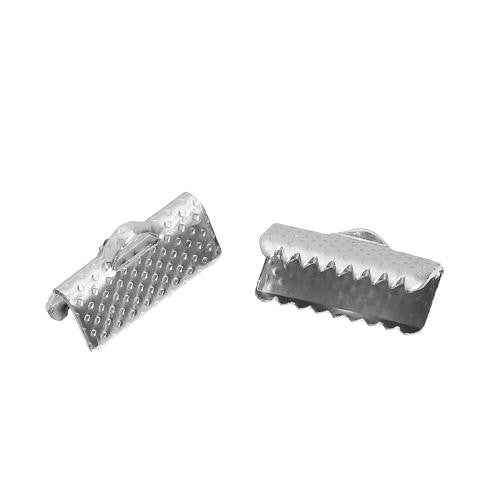 Ribbon Crimp Ends, Silver Tone, Alloy, 13x8mm, Textured, Rectangle, Sold Per Pkg Of 2 - BEADED CREATIONS