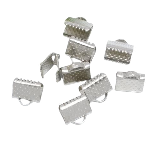 Ribbon Crimp Ends, Silver Tone, Alloy, 8x6mm, Textured, Rectangle, Sold Per Pkg Of 2 - BEADED CREATIONS