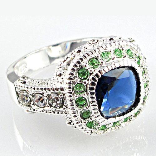 Sapphire And White Topaz Princess Cut Silver Dress Ring Size 9/S Half - BEADED CREATIONS
