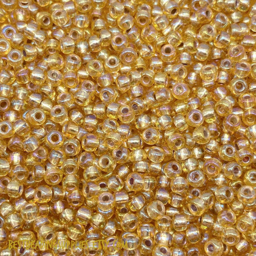 Seed Beads, Glass, Silver Lined, Dark Gold, #8, Round. - BEADED CREATIONS
