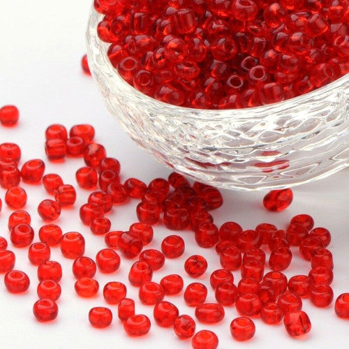 Seed Beads, Glass, Transparent, Red, Rocailles, #8, Round. Sold Per 30-Gram Pkg - BEADED CREATIONS