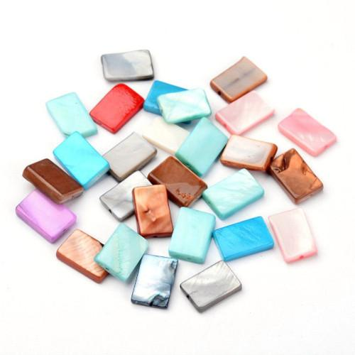 Shell Beads, Rectangular, Mother Of Pearl, Assorted, Flat, 14mm, Sold Individually - BEADED CREATIONS