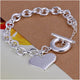 Silver Filled Heart Pendant Chain Bracelet - BEADED CREATIONS