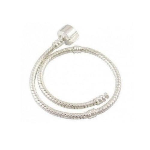 Bracelet, Snake Chain, Alloy, Silver Plated, 3mm, Threaded, Snap Clasp, 20.5cm, Sold Individually - BEADED CREATIONS