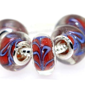 Translucent Red And Blue Lampwork Glass Large Hole Rondelle Beads With Swirls - BEADED CREATIONS
