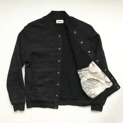 The Heavy Bag Bomber Sweater in Speckled Black
