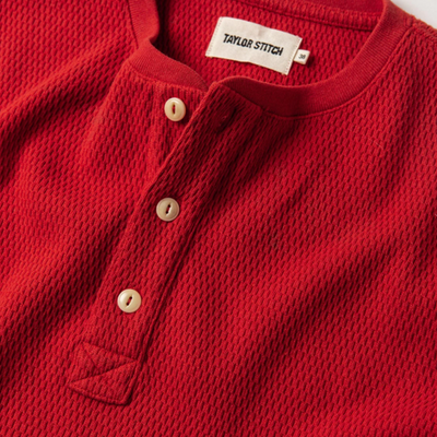 The Heavy Bag Waffle Henley in Cardinal