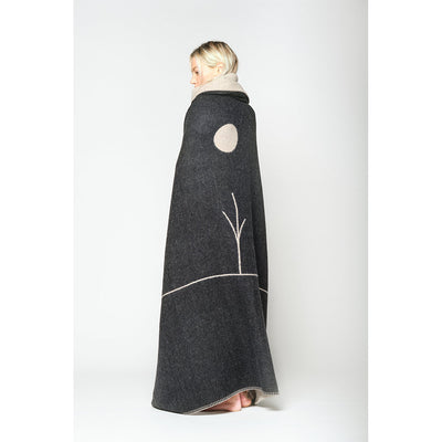 Blacksaw Midnight Sun reversible 100% Baby Alpaca Blankets and wall art in Oatmeal Heather