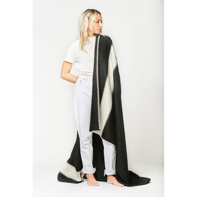 Blacksaw Siempre Recycled Alpaca Blanket in Black with Ivory Stripe