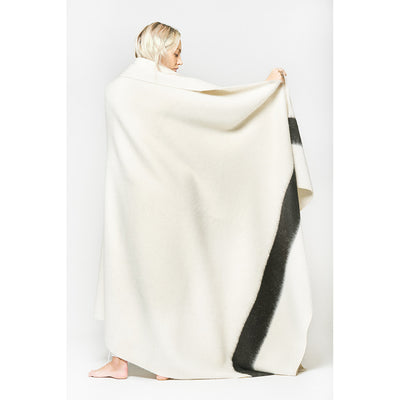 Blacksaw Siempre Recycled Alpaca Blanket in Ivory with Black Stripe