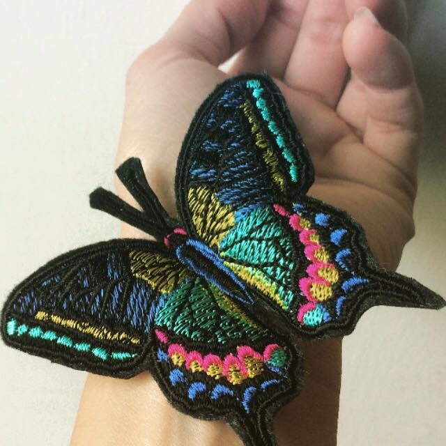 Embroidery butterfly iron on patch
