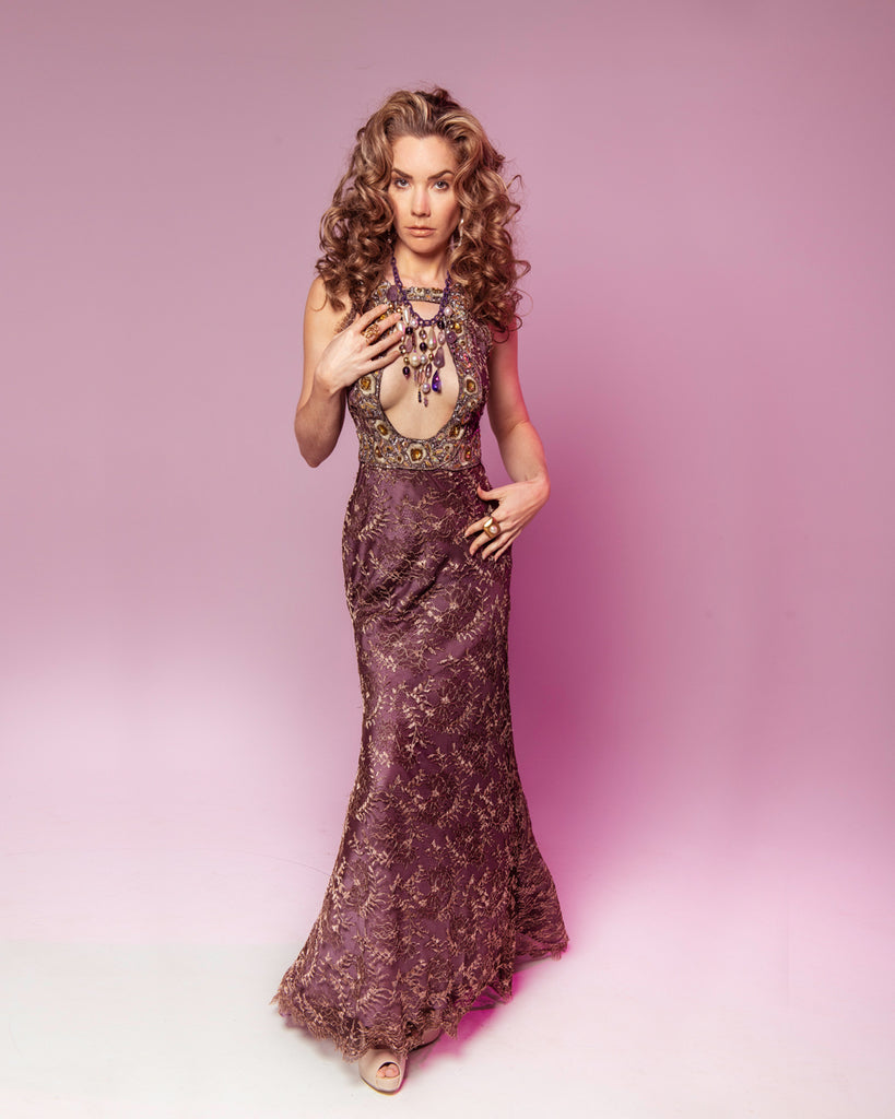 'Aphrodite's Fall' Lace Evening Gown
