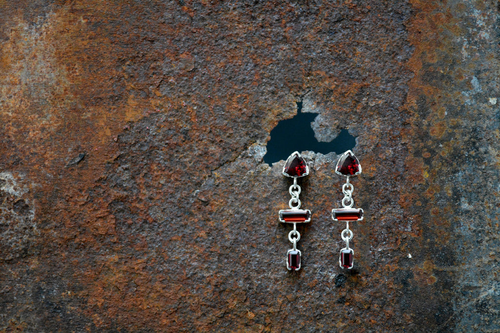 Garnet and Silver Drop Earrings