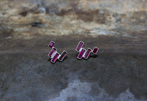 Garnet Geometric Stud Earrings