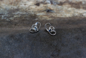 Silver Loop Stud Earrings with Blue Sapphires