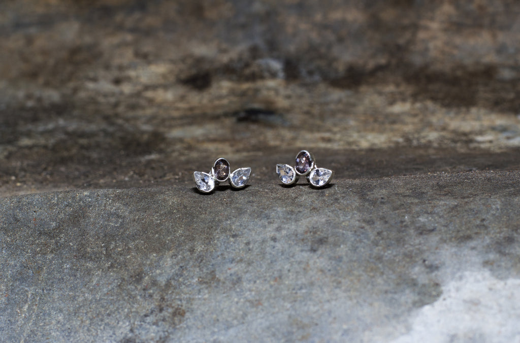 Gemstone & Silver Stud Earrings