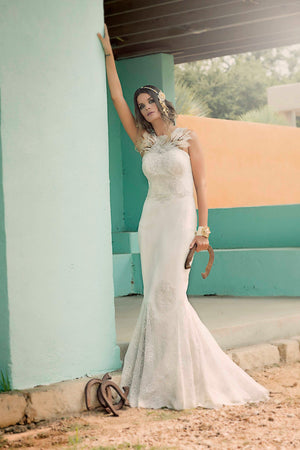 Feather & Appliqué Mermaid Wedding Gown