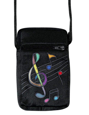 Hand-Painted Silk Cell Phone Mini-Purse - Music
